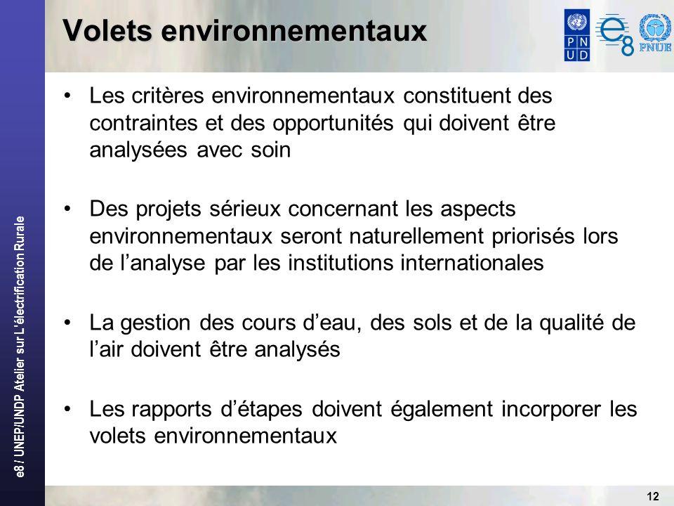e8 / UNEP/UNDP Atelier sur L électrification Rurale 12 Volets environnementaux Les critères environnementaux constituent des contraintes et des opportunités qui doivent être analysées avec soin Des projets sérieux concernant les aspects environnementaux seront naturellement priorisés lors de lanalyse par les institutions internationales La gestion des cours deau, des sols et de la qualité de lair doivent être analysés Les rapports détapes doivent également incorporer les volets environnementaux