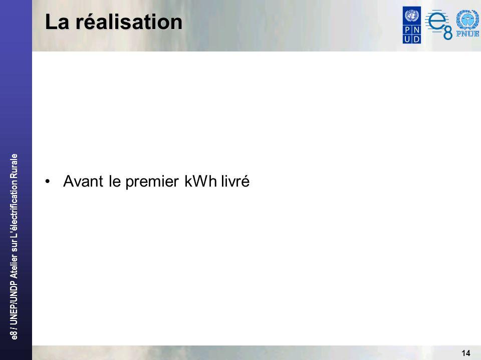 e8 / UNEP/UNDP Atelier sur L électrification Rurale 14 La réalisation Avant le premier kWh livré