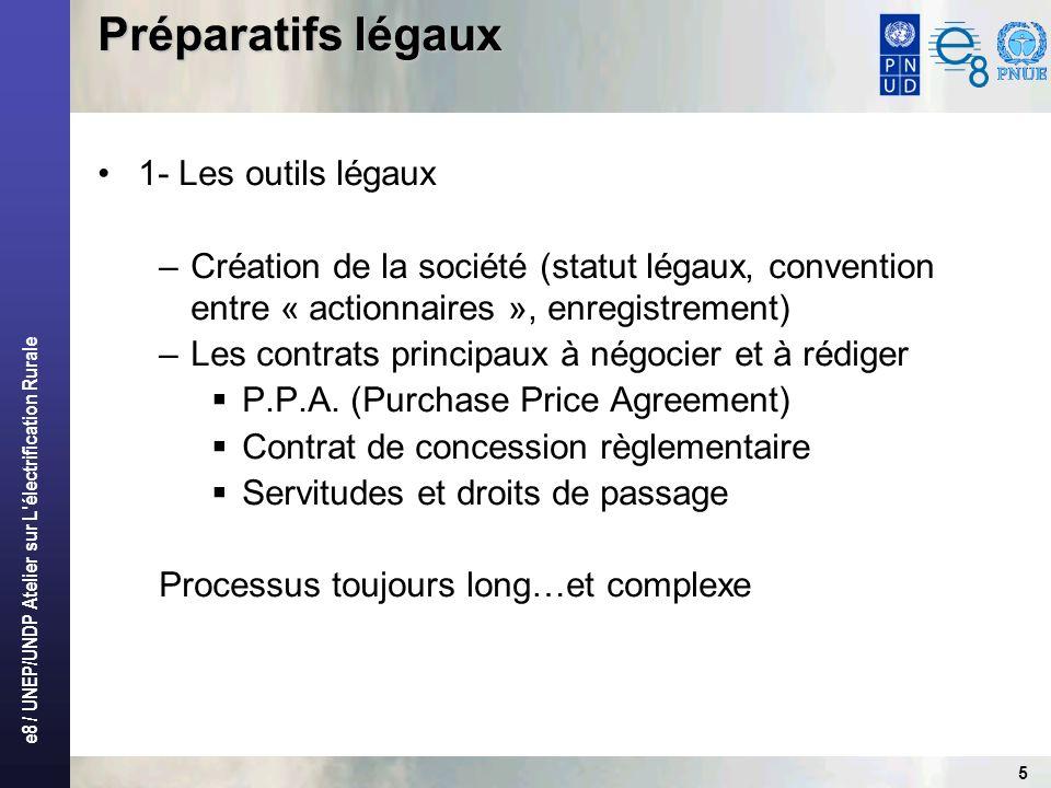 e8 / UNEP/UNDP Atelier sur L électrification Rurale 16 Réception des ouvrages Sassurer de la conformité à la commande (qualitatif autant que quantitatif) Respect des règles de lart et des normes On sort le champagne