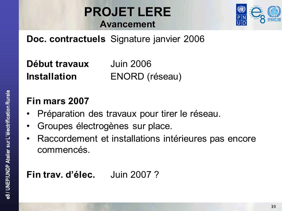 e8 / UNEP/UNDP Atelier sur L'électrification Rurale 10 PROJET LERE Avancement Doc. contractuelsSignature janvier 2006 Début travaux Juin 2006 Installa
