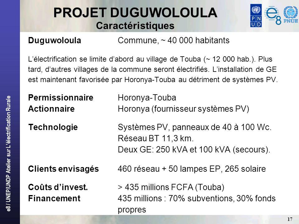 e8 / UNEP/UNDP Atelier sur L'électrification Rurale 17 PROJET DUGUWOLOULA Caractéristiques DuguwoloulaCommune, ~ 40 000 habitants Lélectrification se