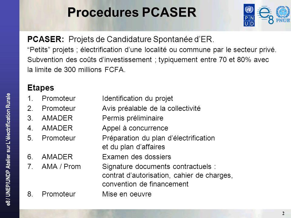 e8 / UNEP/UNDP Atelier sur L électrification Rurale 13 PROJET NARA Caractéristiques Nara~ 12 000 habitants PermissionnairePGE Mali ActionnairesPGE (Canada, fabricant de petites éoliennes) et entreprises maliennes TechnologieRéseau MT (3,5 km) et BT (15 km).