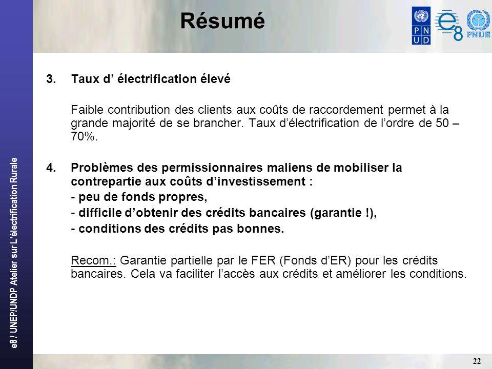e8 / UNEP/UNDP Atelier sur L'électrification Rurale 22 Résumé 3.Taux d électrification élevé Faible contribution des clients aux coûts de raccordement