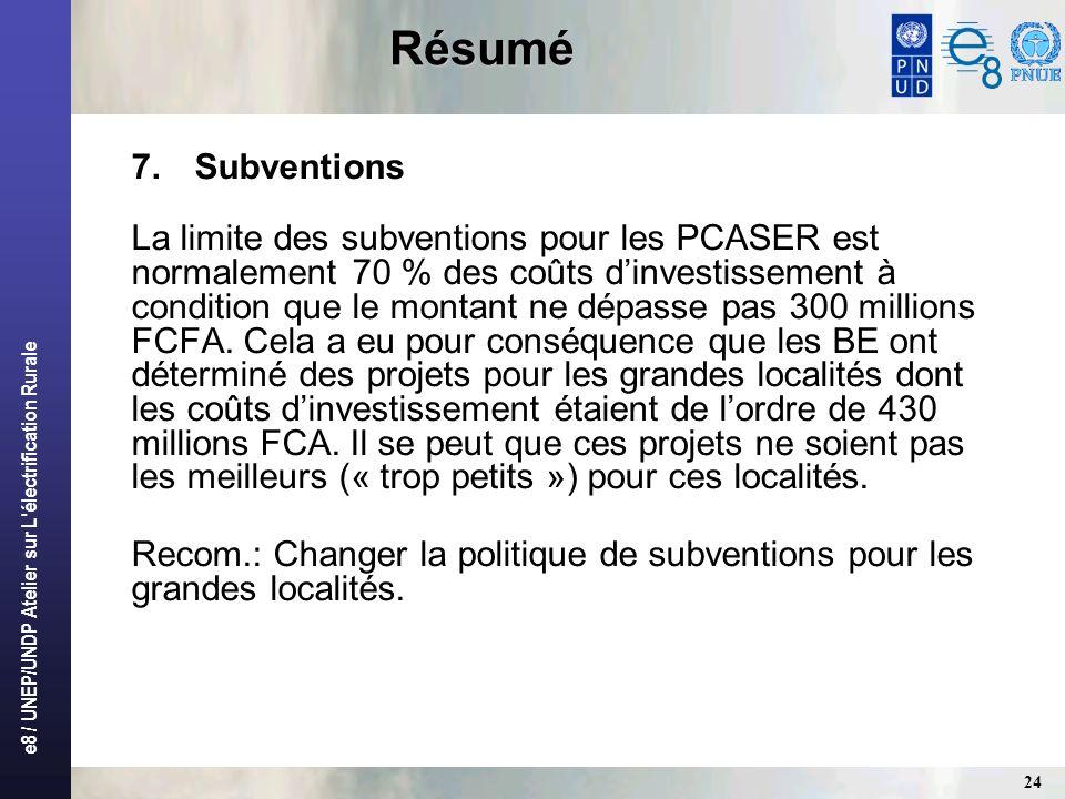 e8 / UNEP/UNDP Atelier sur L'électrification Rurale 24 Résumé 7.Subventions La limite des subventions pour les PCASER est normalement70 % des coûts di
