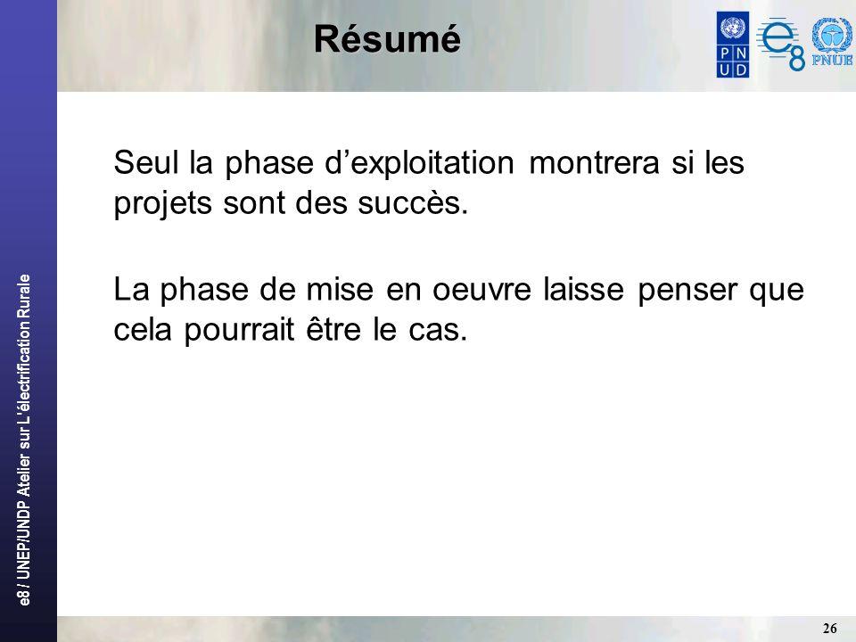 e8 / UNEP/UNDP Atelier sur L'électrification Rurale 26 Résumé Seul la phase dexploitation montrera si les projets sont des succès. La phase de mise en
