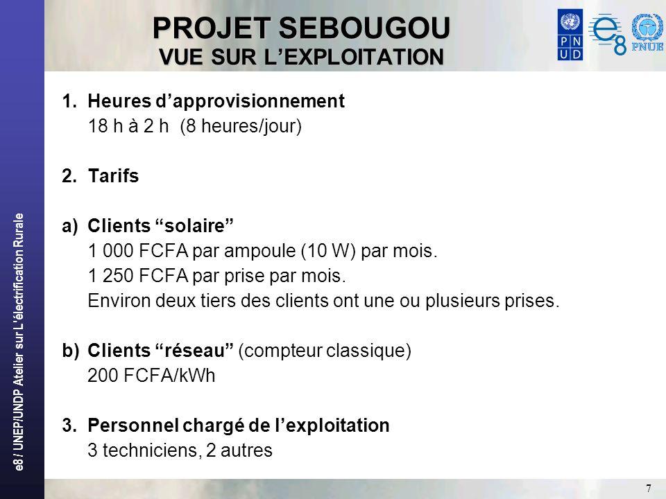 e8 / UNEP/UNDP Atelier sur L'électrification Rurale 7 PROJET SEBOUGOU VUE SUR LEXPLOITATION 1.Heures dapprovisionnement 18 h à 2 h (8 heures/jour) 2.T