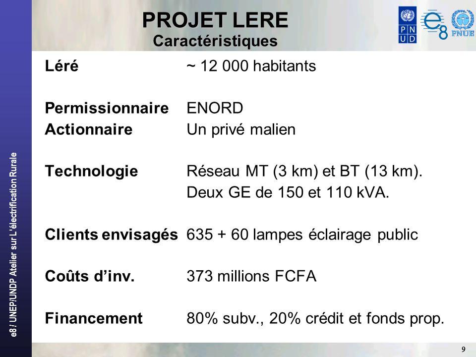 e8 / UNEP/UNDP Atelier sur L'électrification Rurale 9 PROJET LERE Caractéristiques Léré~ 12 000 habitants PermissionnaireENORD ActionnaireUn privé mal