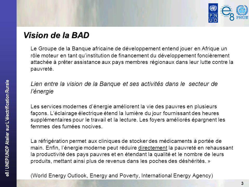 e8 / UNEP/UNDP Atelier sur L'électrification Rurale 3 Le Groupe de la Banque africaine de développement entend jouer en Afrique un rôle moteur en tant
