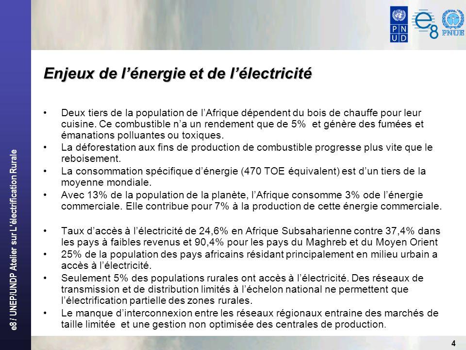 e8 / UNEP/UNDP Atelier sur L'électrification Rurale 4 Deux tiers de la population de lAfrique dépendent du bois de chauffe pour leur cuisine. Ce combu