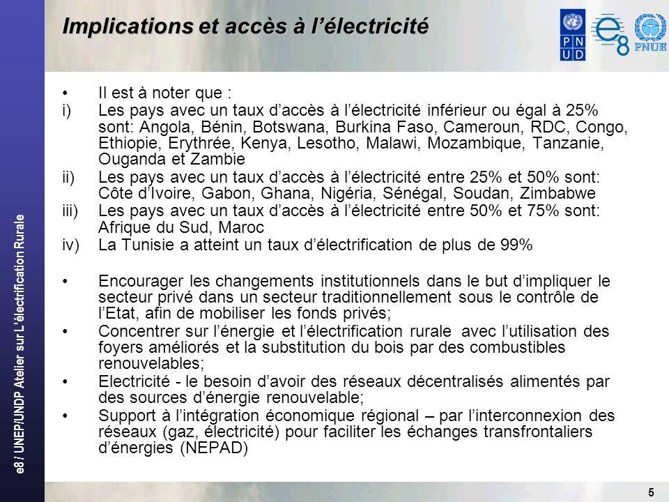 e8 / UNEP/UNDP Atelier sur L électrification Rurale 6 Approches techniques possibles Extension de réseaux (distribution monophasée, système SWER, système Shield Wire) Interconnexions des réseaux avec les pays voisins Centrales hydroélectriques (y compris le mini et micro) Centrale thermique Solaire Eolien Cogénération et biogaz Etc….