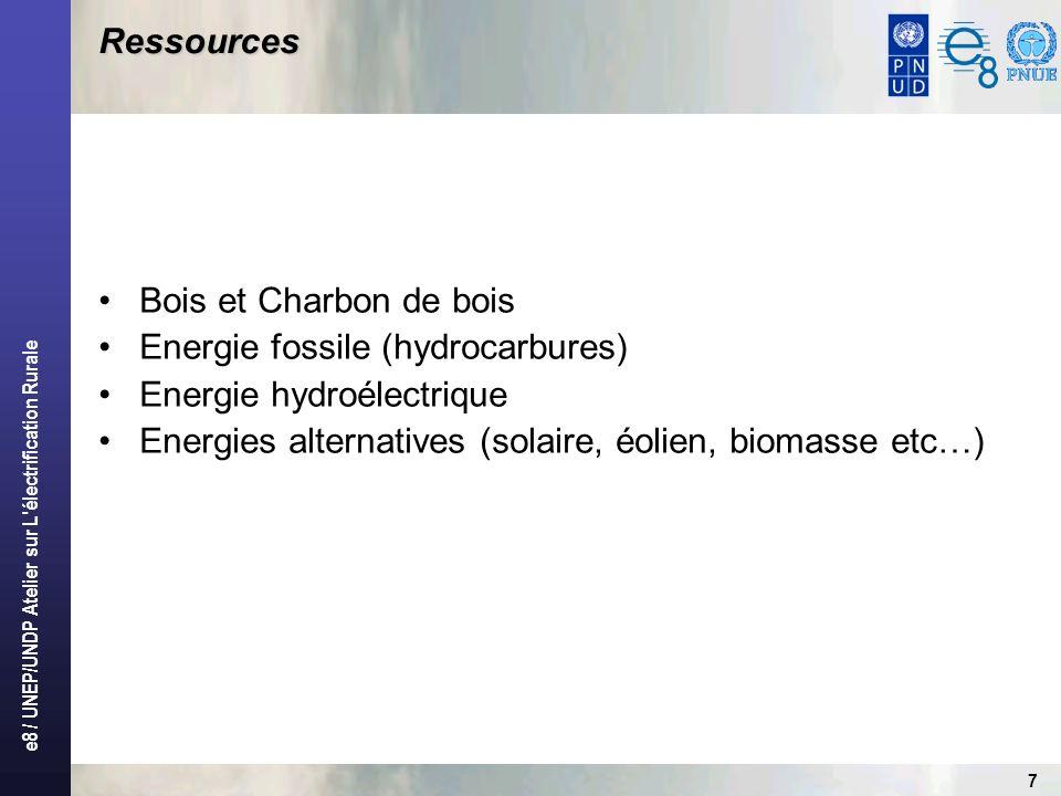 e8 / UNEP/UNDP Atelier sur L électrification Rurale 8 Contraintes Manque de support politique et dune approche orientée par une vision et mission à long terme (programmes) pour accroître la fourniture de services dénergie ; Inclusion du secteur de lénergie dans les DSRP et dans les DSP; Les plans directeurs délectrification rurale nexistent pas pour nombre de pays africains ; Technologies inadaptées, normes techniques déficientes (surdimensionnement des équipements) et coût élevés des réseaux délectrification rurale ; Manques de ressources financières, dinventivité et dinstruments et de cadres légaux pour mobiliser les fonds du secteur privé ; Institutions faibles et capacités limitées de mise en œuvre ; Faible densité de population et demande limitée ; Investissements inadéquats pour la construction dinfrastructures en zones rurales ; Manque dune industrie de services dans le secteur de lélectricité.