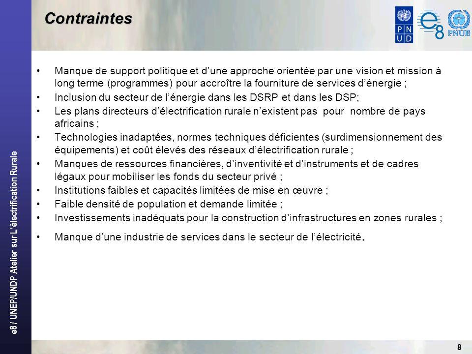 e8 / UNEP/UNDP Atelier sur L'électrification Rurale 8 Contraintes Manque de support politique et dune approche orientée par une vision et mission à lo