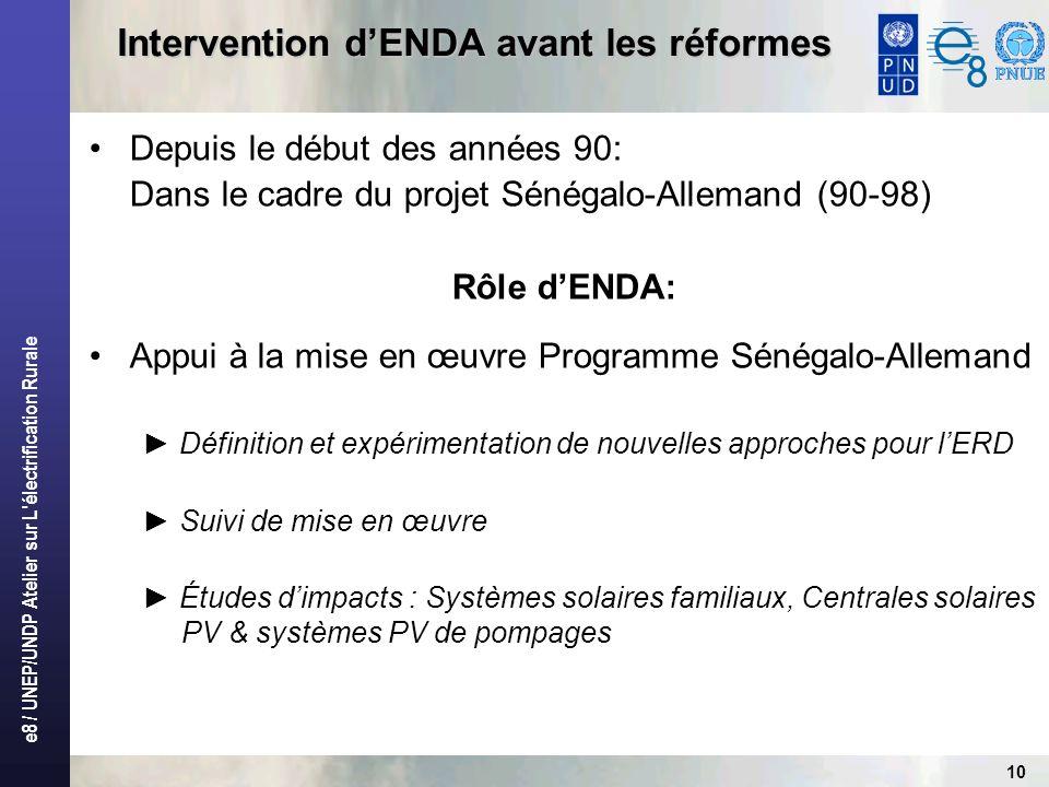 e8 / UNEP/UNDP Atelier sur L'électrification Rurale 10 Intervention dENDA avant les réformes Depuis le début des années 90: Dans le cadre du projet Sé