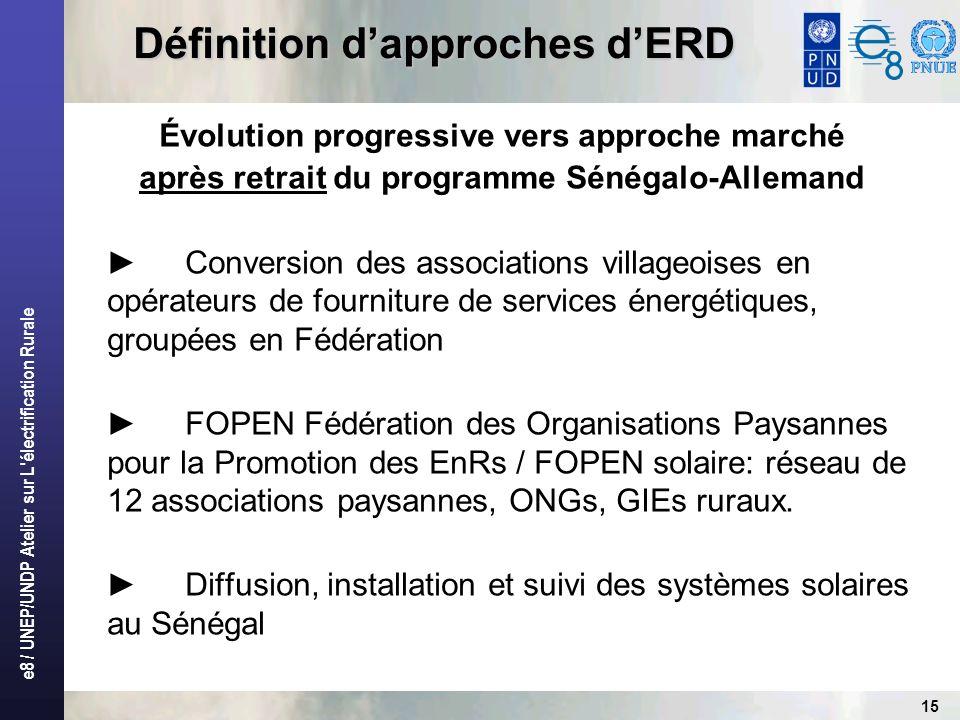 e8 / UNEP/UNDP Atelier sur L'électrification Rurale 15 Définition dapproches dERD Évolution progressive vers approche marché après retrait du programm