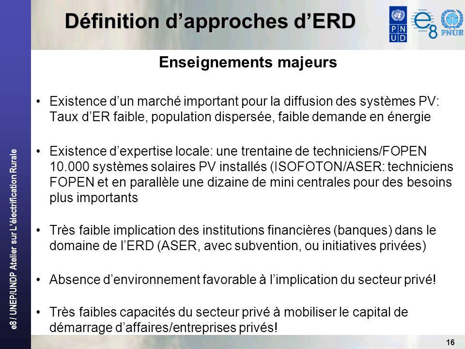 e8 / UNEP/UNDP Atelier sur L'électrification Rurale 16 Définition dapproches dERD Enseignements majeurs Existence dun marché important pour la diffusi
