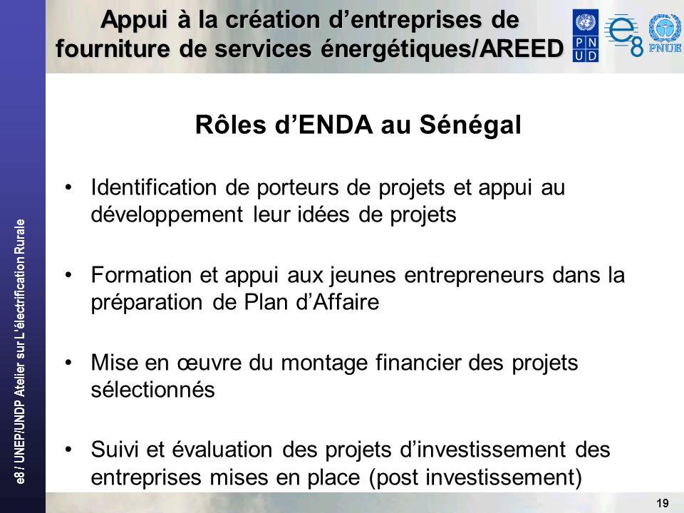 e8 / UNEP/UNDP Atelier sur L'électrification Rurale 19 Appui à la création dentreprises de fourniture de services énergétiques/AREED Rôles dENDA au Sé