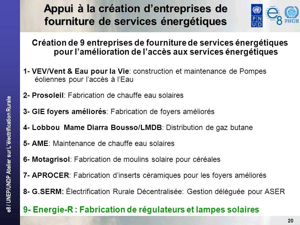 e8 / UNEP/UNDP Atelier sur L'électrification Rurale 20 Appui à la création dentreprises de fourniture de services énergétiques Création de 9 entrepris
