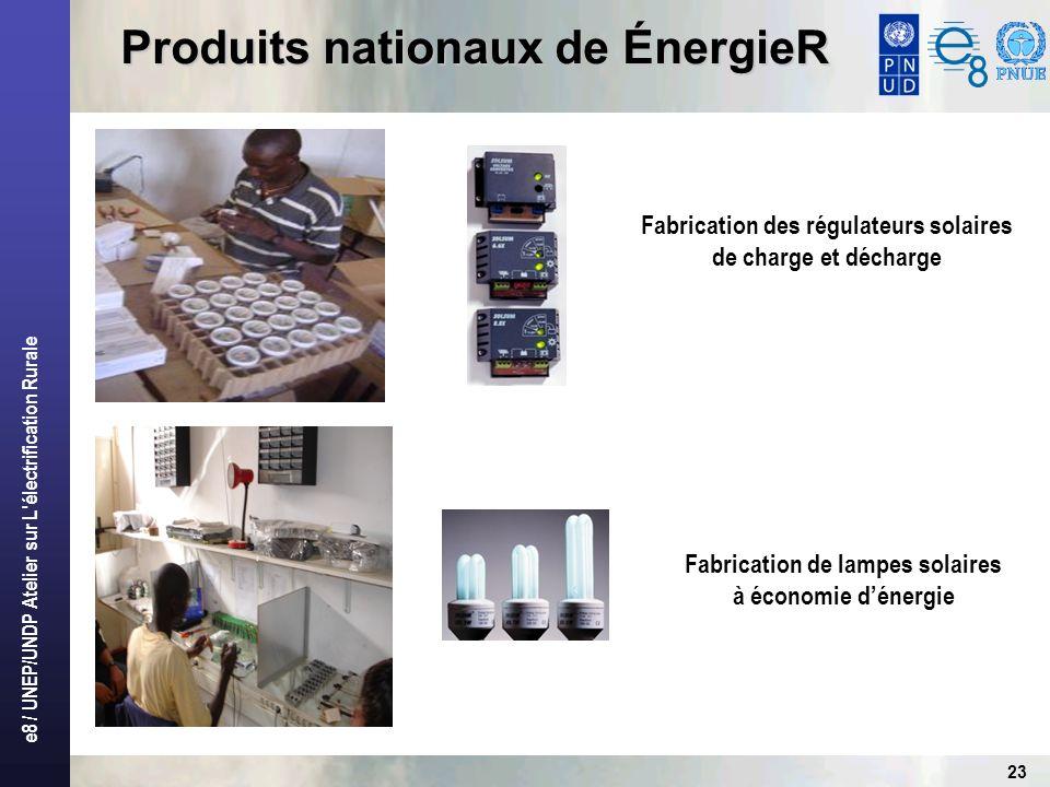 e8 / UNEP/UNDP Atelier sur L électrification Rurale 23 Produits nationaux de ÉnergieR Fabrication des régulateurs solaires de charge et décharge Fabrication de lampes solaires à économie dénergie