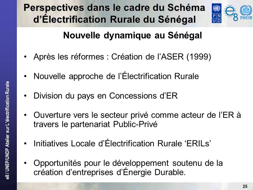 e8 / UNEP/UNDP Atelier sur L électrification Rurale 25 Perspectives dans le cadre du Schéma dÉlectrification Rurale du Sénégal Nouvelle dynamique au Sénégal Après les réformes : Création de lASER (1999) Nouvelle approche de lÉlectrification Rurale Division du pays en Concessions dER Ouverture vers le secteur privé comme acteur de lER à travers le partenariat Public-Privé Initiatives Locale dÉlectrification Rurale ERILs Opportunités pour le développement soutenu de la création dentreprises dÉnergie Durable.