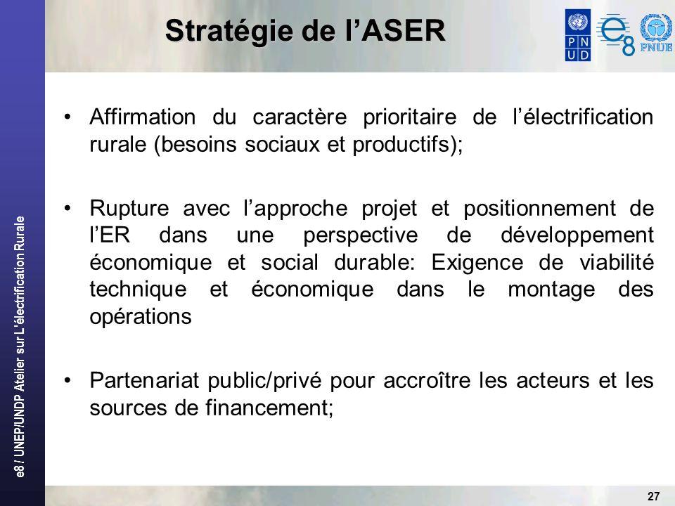 e8 / UNEP/UNDP Atelier sur L'électrification Rurale 27 Stratégie de lASER Affirmation du caractère prioritaire de lélectrification rurale (besoins soc