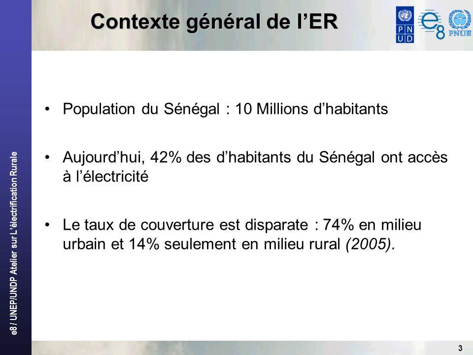 e8 / UNEP/UNDP Atelier sur L électrification Rurale 3 Population du Sénégal : 10 Millions dhabitants Aujourdhui, 42% des dhabitants du Sénégal ont accès à lélectricité Le taux de couverture est disparate : 74% en milieu urbain et 14% seulement en milieu rural (2005).