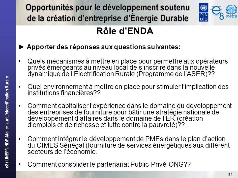 e8 / UNEP/UNDP Atelier sur L'électrification Rurale 31 Opportunités pour le développement soutenu de la création dentreprise dÉnergie Durable Rôle dEN