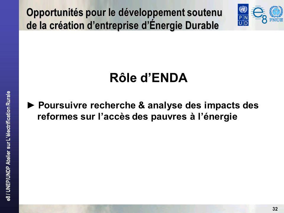 e8 / UNEP/UNDP Atelier sur L électrification Rurale 32 Opportunités pour le développement soutenu de la création dentreprise dÉnergie Durable Rôle dENDA Poursuivre recherche & analyse des impacts des reformes sur laccès des pauvres à lénergie