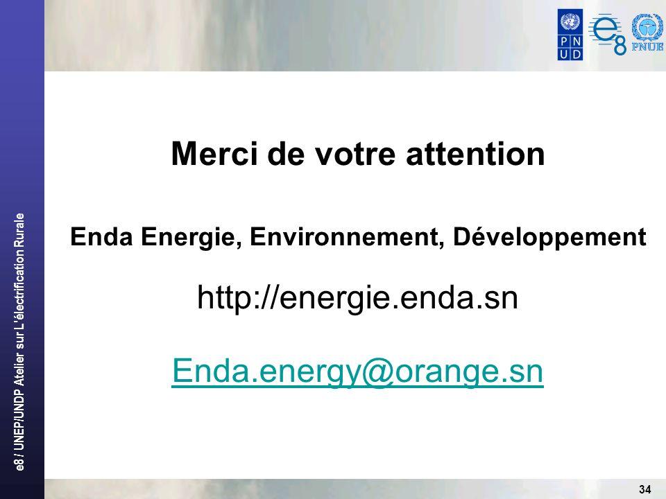 e8 / UNEP/UNDP Atelier sur L électrification Rurale 34 Merci de votre attention Enda Energie, Environnement, Développement http://energie.enda.sn Enda.energy@orange.sn