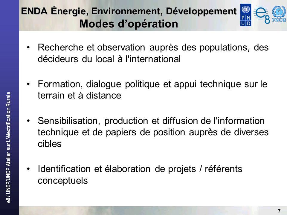 e8 / UNEP/UNDP Atelier sur L'électrification Rurale 7 ENDA Énergie, Environnement, Développement Modes dopération Recherche et observation auprès des