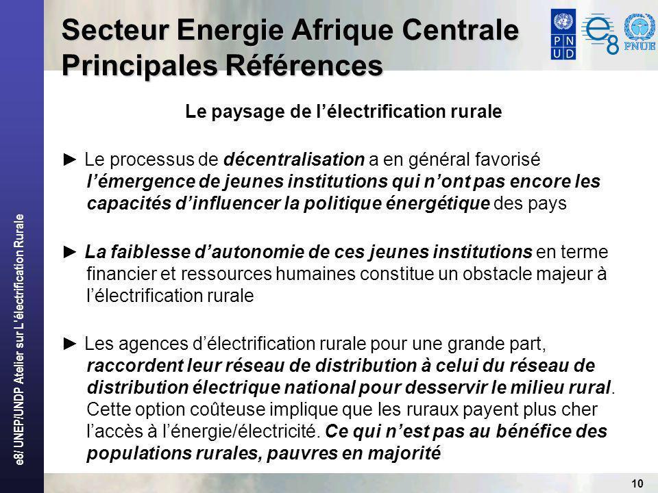 e8/ UNEP/UNDP Atelier sur L électrification Rurale 10 Secteur Energie Afrique Centrale Principales Références Le paysage de lélectrification rurale Le processus de décentralisation a en général favorisé lémergence de jeunes institutions qui nont pas encore les capacités dinfluencer la politique énergétique des pays La faiblesse dautonomie de ces jeunes institutions en terme financier et ressources humaines constitue un obstacle majeur à lélectrification rurale Les agences délectrification rurale pour une grande part, raccordent leur réseau de distribution à celui du réseau de distribution électrique national pour desservir le milieu rural.