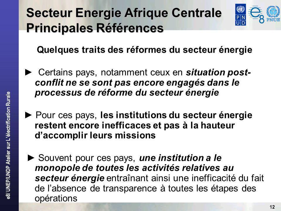 e8/ UNEP/UNDP Atelier sur L électrification Rurale 12 Secteur Energie Afrique Centrale Principales Références Quelques traits des réformes du secteur énergie Certains pays, notamment ceux en situation post- conflit ne se sont pas encore engagés dans le processus de réforme du secteur énergie Pour ces pays, les institutions du secteur énergie restent encore inefficaces et pas à la hauteur daccomplir leurs missions Souvent pour ces pays, une institution a le monopole de toutes les activités relatives au secteur énergie entraînant ainsi une inefficacité du fait de labsence de transparence à toutes les étapes des opérations