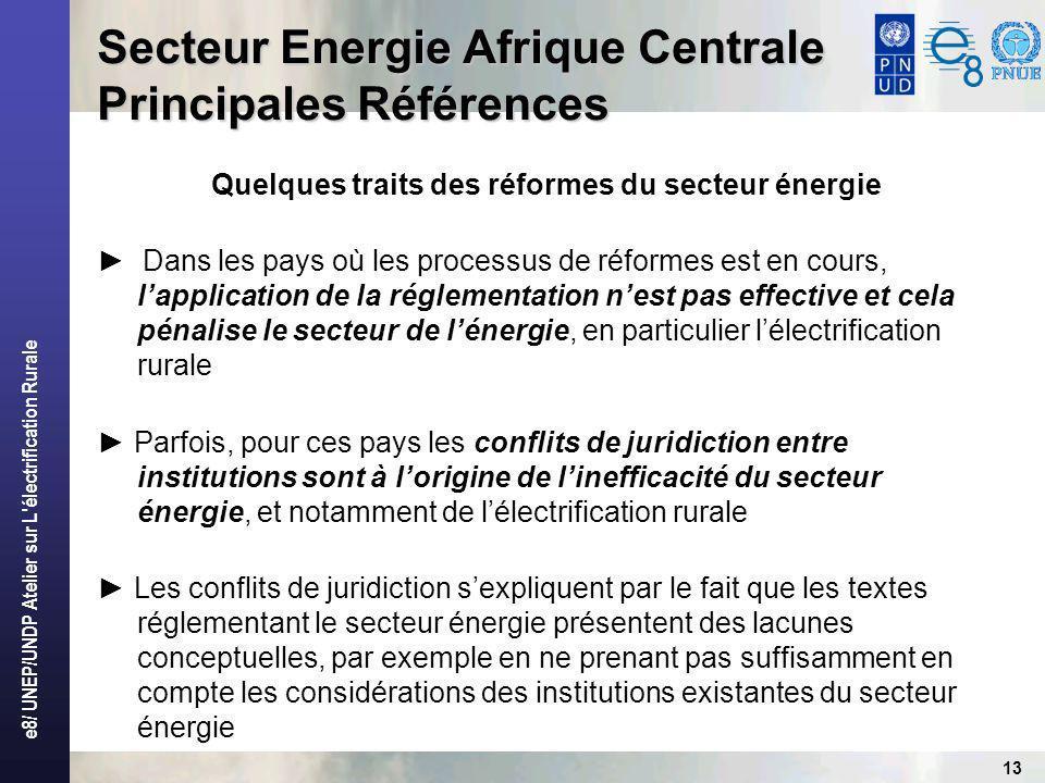e8/ UNEP/UNDP Atelier sur L électrification Rurale 13 Secteur Energie Afrique Centrale Principales Références Quelques traits des réformes du secteur énergie Dans les pays où les processus de réformes est en cours, lapplication de la réglementation nest pas effective et cela pénalise le secteur de lénergie, en particulier lélectrification rurale Parfois, pour ces pays les conflits de juridiction entre institutions sont à lorigine de linefficacité du secteur énergie, et notamment de lélectrification rurale Les conflits de juridiction sexpliquent par le fait que les textes réglementant le secteur énergie présentent des lacunes conceptuelles, par exemple en ne prenant pas suffisamment en compte les considérations des institutions existantes du secteur énergie