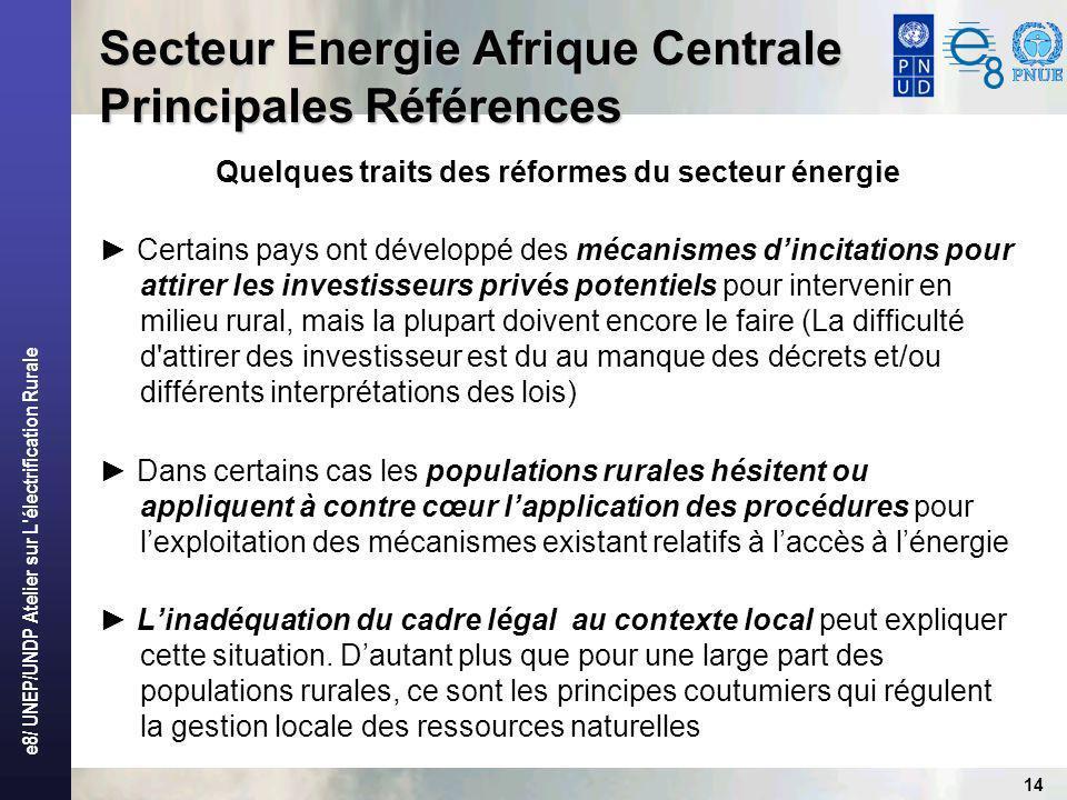 e8/ UNEP/UNDP Atelier sur L électrification Rurale 14 Secteur Energie Afrique Centrale Principales Références Quelques traits des réformes du secteur énergie Certains pays ont développé des mécanismes dincitations pour attirer les investisseurs privés potentiels pour intervenir en milieu rural, mais la plupart doivent encore le faire (La difficulté d attirer des investisseur est du au manque des décrets et/ou différents interprétations des lois) Dans certains cas les populations rurales hésitent ou appliquent à contre cœur lapplication des procédures pour lexploitation des mécanismes existant relatifs à laccès à lénergie Linadéquation du cadre légal au contexte local peut expliquer cette situation.