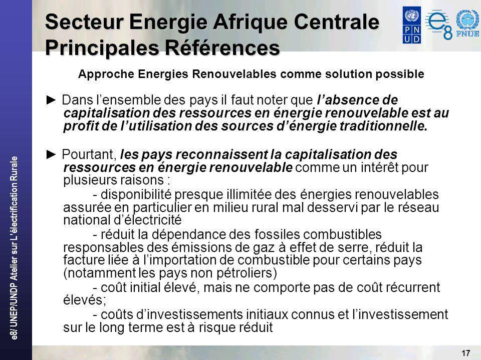 e8/ UNEP/UNDP Atelier sur L électrification Rurale 17 Secteur Energie Afrique Centrale Principales Références Approche Energies Renouvelables comme solution possible Dans lensemble des pays il faut noter que labsence de capitalisation des ressources en énergie renouvelable est au profit de lutilisation des sources dénergie traditionnelle.