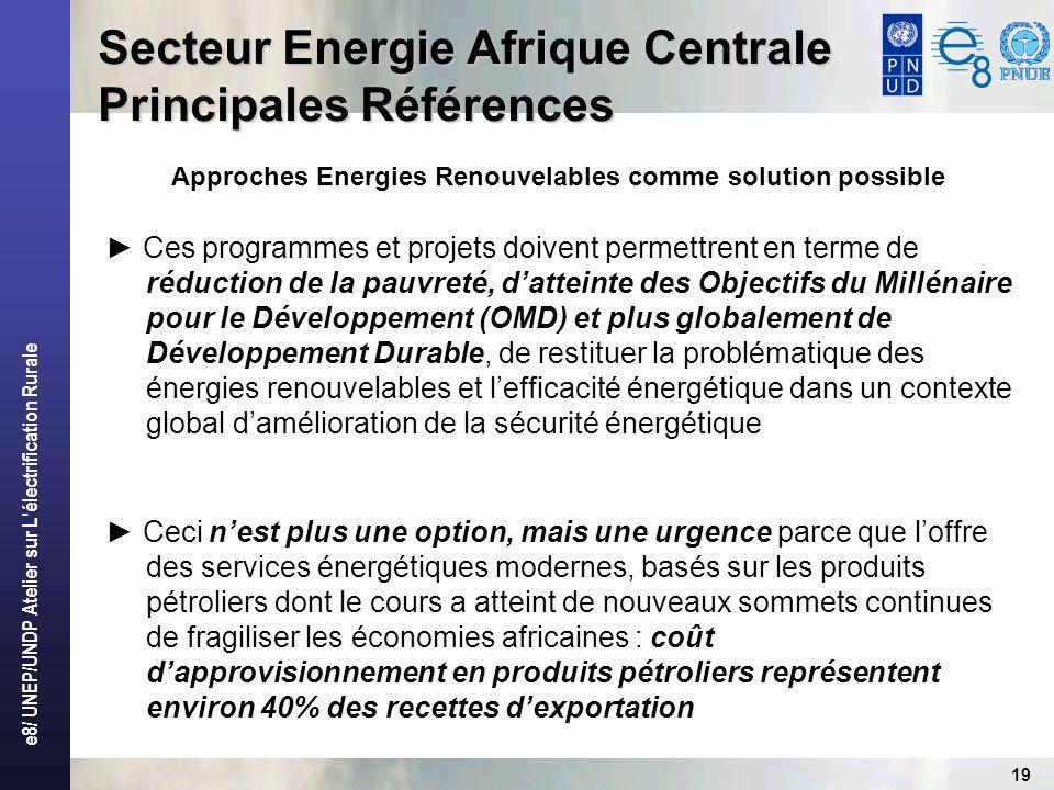 e8/ UNEP/UNDP Atelier sur L électrification Rurale 19 Secteur Energie Afrique Centrale Principales Références Approches Energies Renouvelables comme solution possible Ces programmes et projets doivent permettrent en terme de réduction de la pauvreté, datteinte des Objectifs du Millénaire pour le Développement (OMD) et plus globalement de Développement Durable, de restituer la problématique des énergies renouvelables et lefficacité énergétique dans un contexte global damélioration de la sécurité énergétique Ceci nest plus une option, mais une urgence parce que loffre des services énergétiques modernes, basés sur les produits pétroliers dont le cours a atteint de nouveaux sommets continues de fragiliser les économies africaines : coût dapprovisionnement en produits pétroliers représentent environ 40% des recettes dexportation