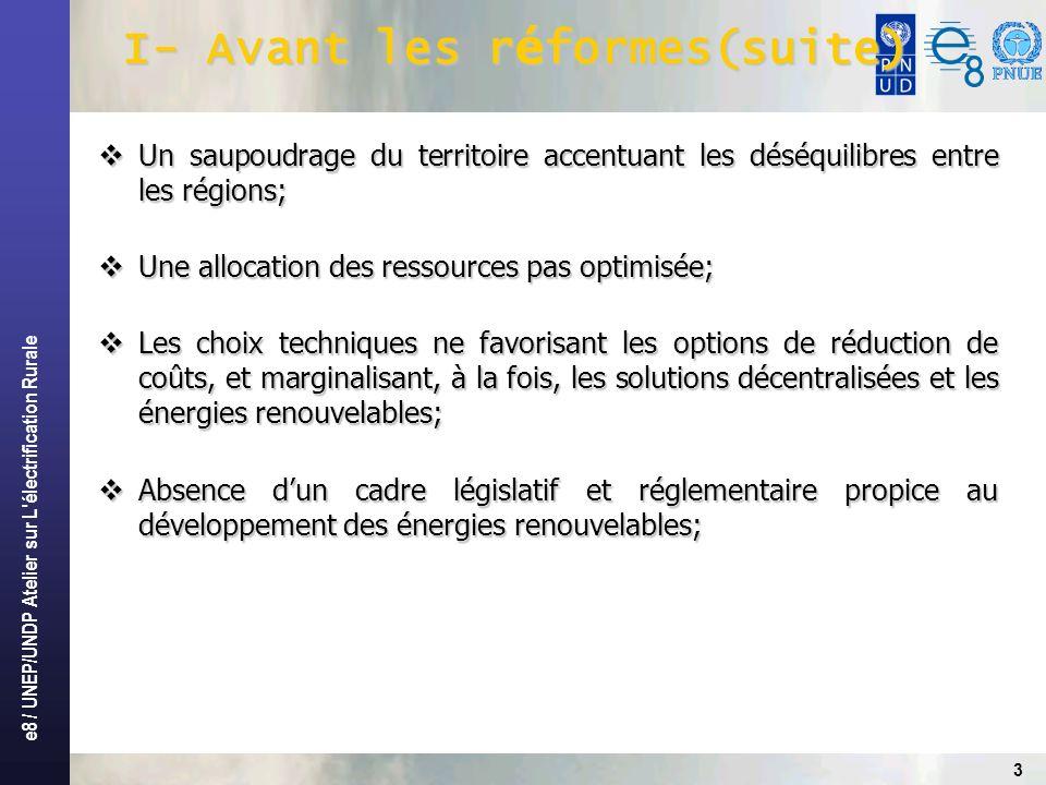 e8 / UNEP/UNDP Atelier sur L électrification Rurale 14 Conclusion Le cadre attractif mis en place a permis: Lappui massif des bailleurs de fonds au développement de lélectrification rural.