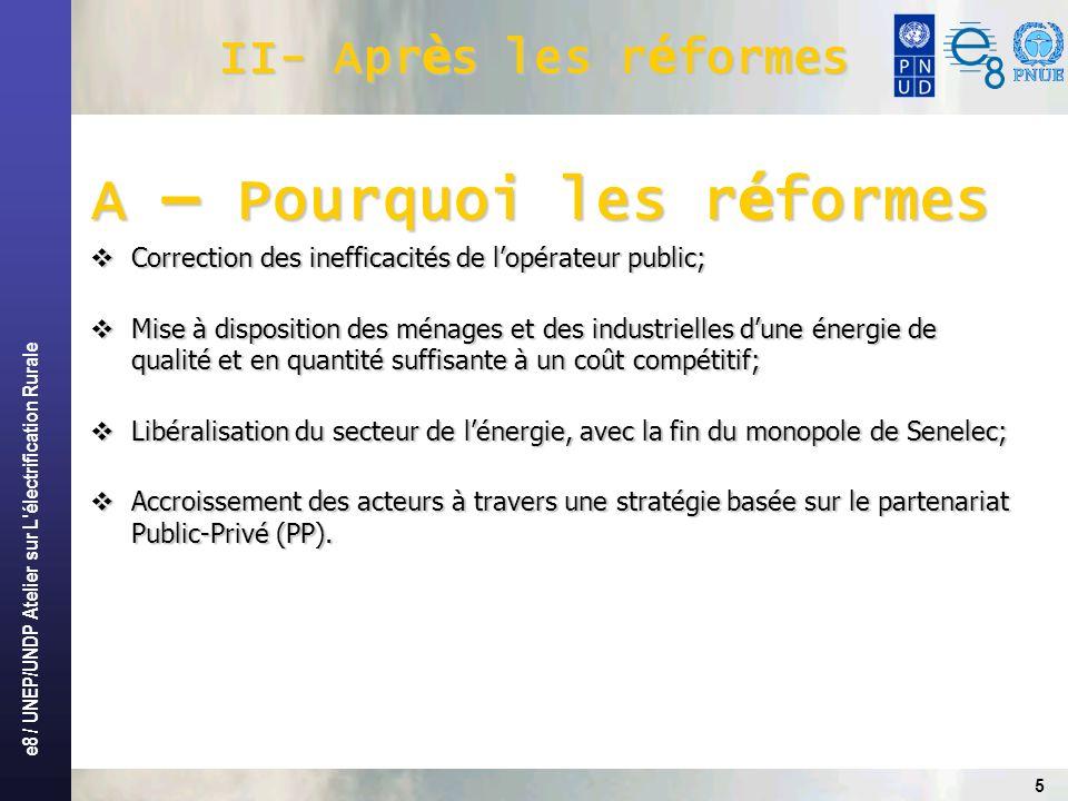 e8 / UNEP/UNDP Atelier sur L électrification Rurale 6 II- Apr è s les r é formes(suite) B – Mise en œ uvre des r é formes Définition dun cadre législatif et réglementaire libéralisant le sous-secteur de lélectricité par le vote de la loi 98-29 du 14 avril 1998 et portant: Définition dun cadre législatif et réglementaire libéralisant le sous-secteur de lélectricité par le vote de la loi 98-29 du 14 avril 1998 et portant: - Création dune Agence dédiée à lélectrification rurale, - Création dune Commission de Régulation du Secteur de lÉlectricité, Adoption dune lettre de politique spécifique au développement de lER(23 juillet 2004); Adoption dune lettre de politique spécifique au développement de lER(23 juillet 2004); Mise en place dun mécanisme pérenne de financement du développement de lélectrification rurale: le fonds délectrification rurale (FER) créé par décret N° 2006-247 du 21mars 2006; Mise en place dun mécanisme pérenne de financement du développement de lélectrification rurale: le fonds délectrification rurale (FER) créé par décret N° 2006-247 du 21mars 2006; Instauration de mécanismes dalimentation du FER, par la loi N°2006-18 du 30 juin 2006 portant création de la redevance délectrification rurale.