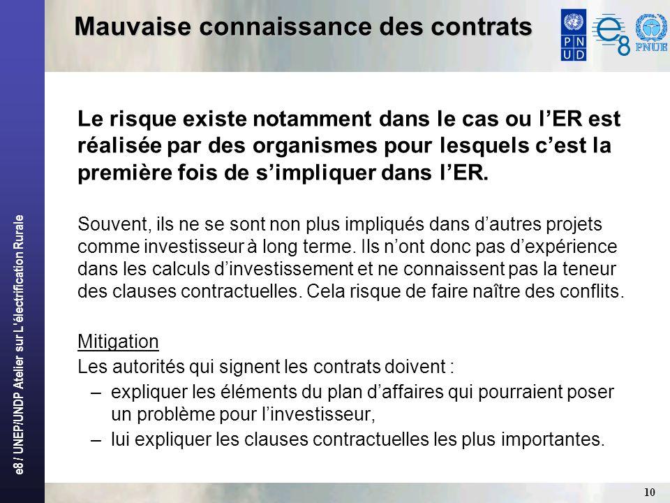 e8 / UNEP/UNDP Atelier sur L'électrification Rurale 10 Mauvaise connaissance des contrats Le risque existe notamment dans le cas ou lER est réalisée p