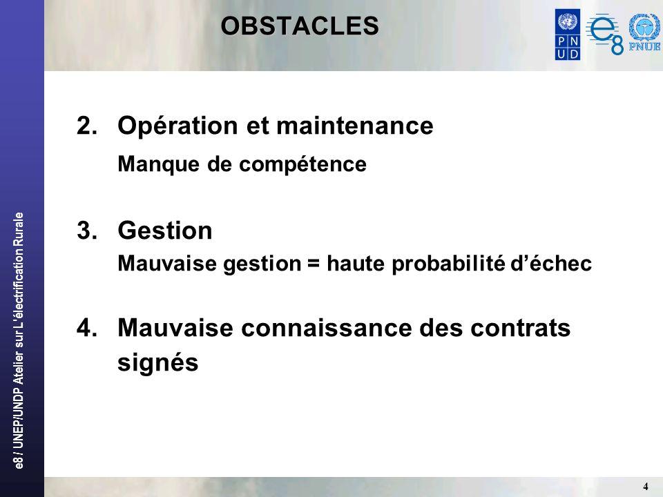e8 / UNEP/UNDP Atelier sur L'électrification Rurale 4 OBSTACLES 2.Opération et maintenance Manque de compétence 3.Gestion Mauvaise gestion = haute pro