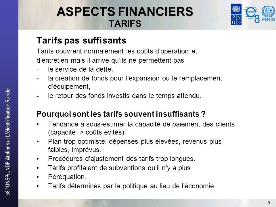 e8 / UNEP/UNDP Atelier sur L'électrification Rurale 5 ASPECTS FINANCIERS TARIFS Tarifs pas suffisants Tarifs couvrent normalement les coûts dopération