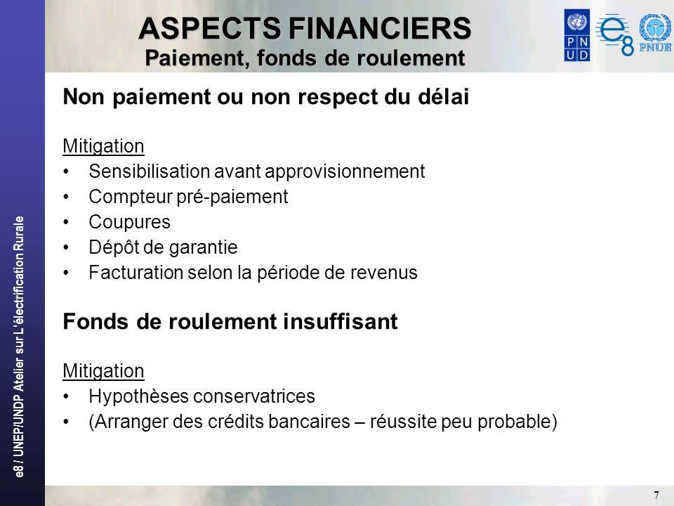 e8 / UNEP/UNDP Atelier sur L'électrification Rurale 7 ASPECTS FINANCIERS Paiement, fonds de roulement Non paiement ou non respect du délai Mitigation