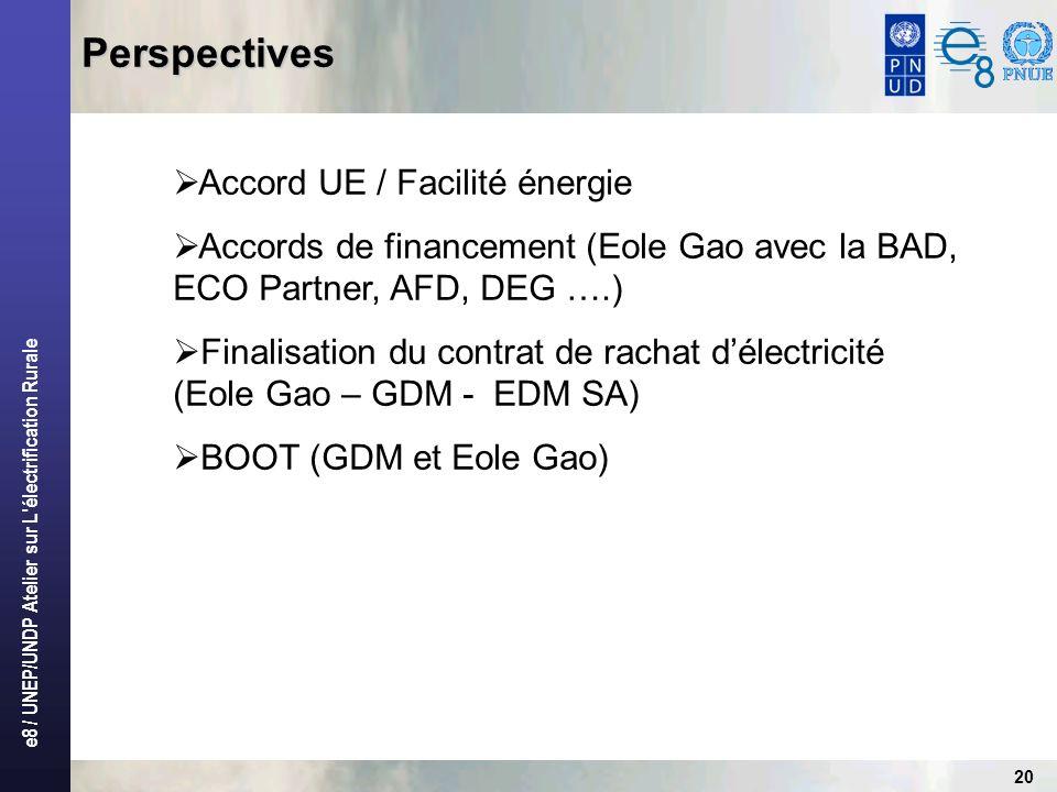 e8 / UNEP/UNDP Atelier sur L'électrification Rurale 20 Perspectives Accord UE / Facilité énergie Accords de financement (Eole Gao avec la BAD, ECO Par