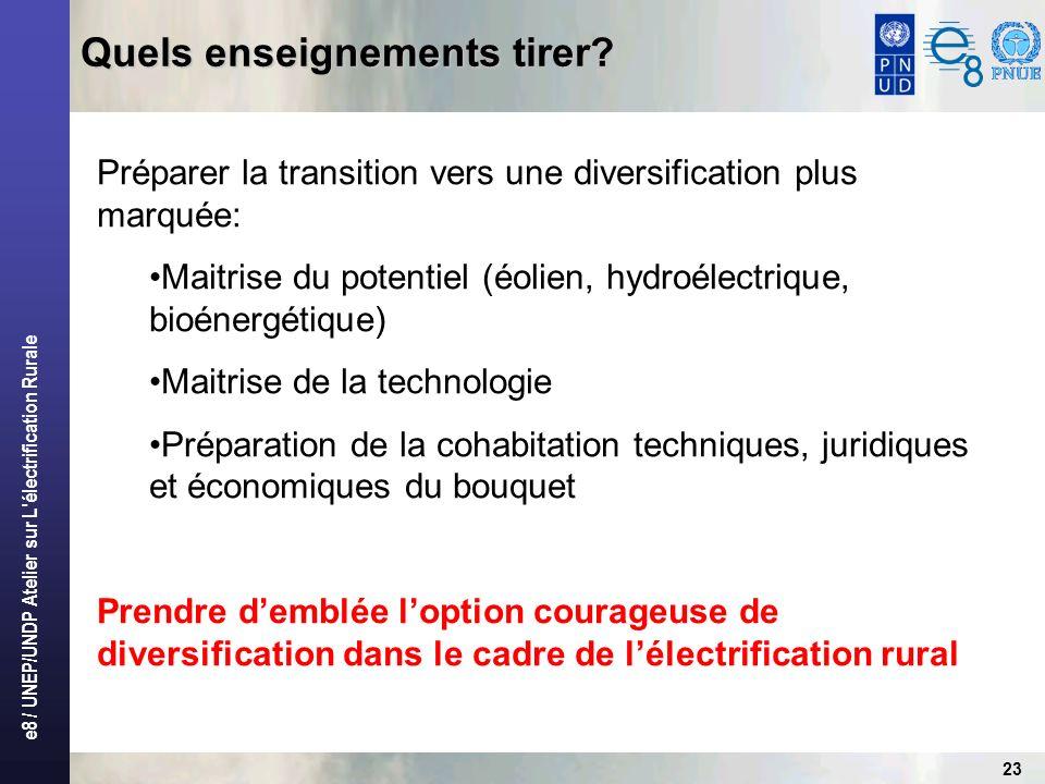 e8 / UNEP/UNDP Atelier sur L'électrification Rurale 23 Quels enseignements tirer? Préparer la transition vers une diversification plus marquée: Maitri