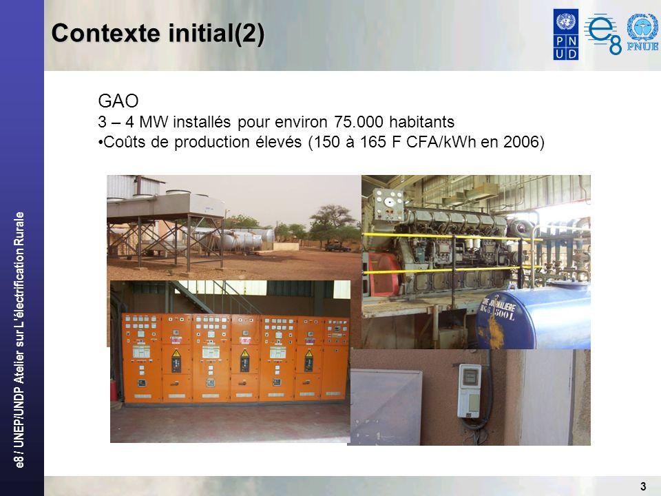 e8 / UNEP/UNDP Atelier sur L'électrification Rurale 3 Contexte initial(2) GAO 3 – 4 MW installés pour environ 75.000 habitants Coûts de production éle