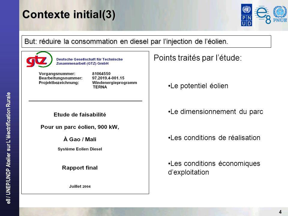 e8 / UNEP/UNDP Atelier sur L'électrification Rurale 4 But: réduire la consommation en diesel par linjection de léolien. Points traités par létude: Le