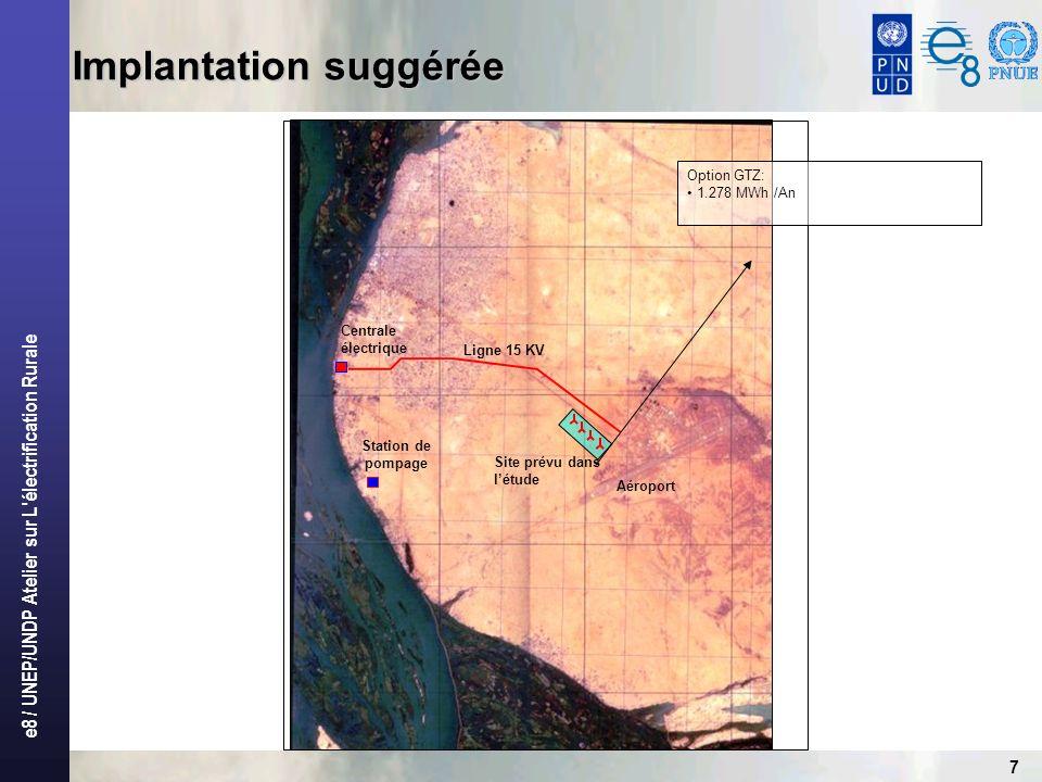 e8 / UNEP/UNDP Atelier sur L'électrification Rurale 7 Implantation suggérée Centrale électrique Site prévu dans létude Aéroport Ligne 15 KV Station de