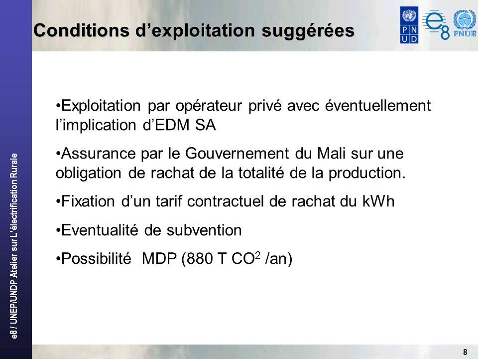 e8 / UNEP/UNDP Atelier sur L électrification Rurale 19 Scénario dexploitation (suite) Scénarios Avec subvention Tarif140 Avec subvention – Tarif150 Avec subvention - Tarif165 Capitaux propres (%)10% Montant Capitaux propres283.051 185,40MCFA283.051 185,40MCFA283.051 185, 40 MCFA Subvention(%)50% Montant subvention 1.415.255 926,99 MCFA 1.415.255 926,99 MCFA 1.415.255 926,99 MCFA Capitaux bancaires (%)40% Capitaux bancaires 1.132.204 741,59 MCFA 1.132.204 741,59 MCFA 1.132.204 741,59 MCFA Taux d intérêt bancaires5,00% Durée du crédit (a)886 Nombre d années BOOT10TRI9%8TRI9%7TRI7% Tarif de rachat du kWh0,214 140,0 FCFA0,229 150 FCFA0,25 165 FCFA