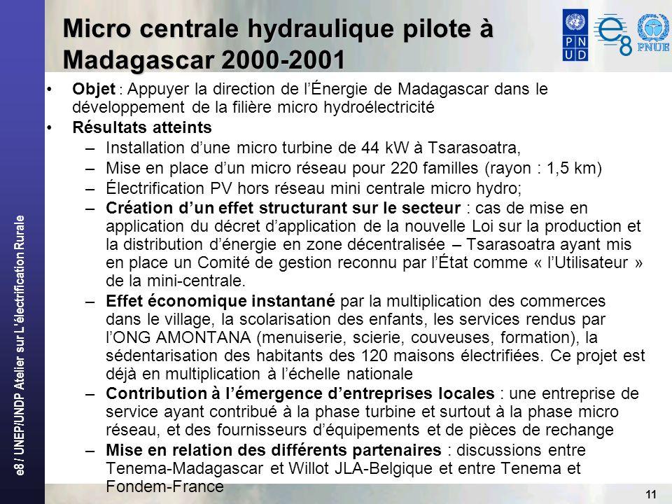 e8 / UNEP/UNDP Atelier sur L électrification Rurale 11 Objet : Appuyer la direction de lÉnergie de Madagascar dans le développement de la filière micro hydroélectricité Résultats atteints –Installation dune micro turbine de 44 kW à Tsarasoatra, –Mise en place dun micro réseau pour 220 familles (rayon : 1,5 km) –Électrification PV hors réseau mini centrale micro hydro; –Création dun effet structurant sur le secteur : cas de mise en application du décret dapplication de la nouvelle Loi sur la production et la distribution dénergie en zone décentralisée – Tsarasoatra ayant mis en place un Comité de gestion reconnu par lÉtat comme « lUtilisateur » de la mini-centrale.