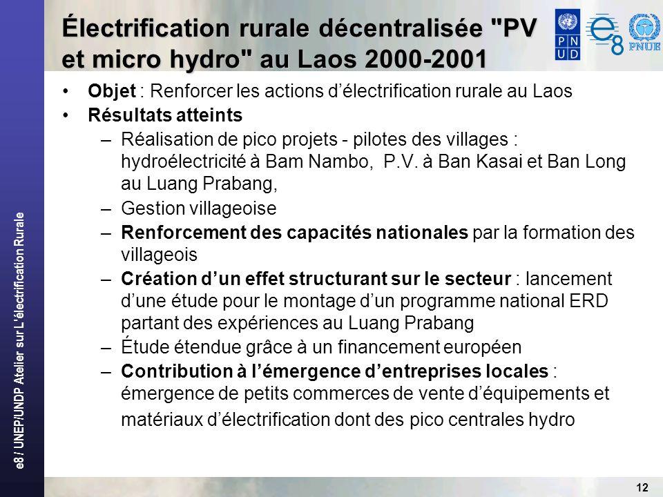 e8 / UNEP/UNDP Atelier sur L électrification Rurale 12 Objet : Renforcer les actions délectrification rurale au Laos Résultats atteints –Réalisation de pico projets - pilotes des villages : hydroélectricité à Bam Nambo, P.V.