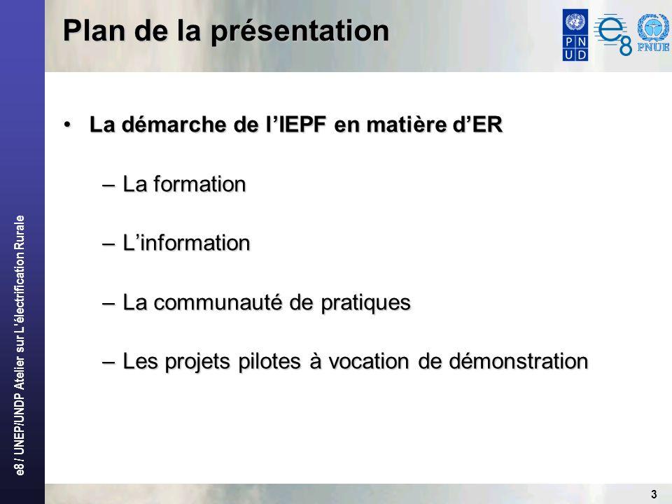 e8 / UNEP/UNDP Atelier sur L électrification Rurale 3 La démarche de lIEPF en matière dERLa démarche de lIEPF en matière dER –La formation –Linformation –La communauté de pratiques –Les projets pilotes à vocation de démonstration Plan de la présentation